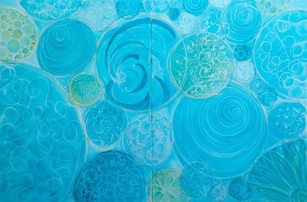 Spheres of Diversity 30 x 80 Diptych Melynda Van Zee©2016