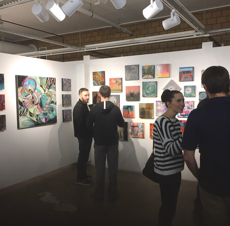 """Collision"", a Paintpushers collaborative showcase, hangs from now through Jan. 2 at the Des Moines Social Club with purchases made possible through the Viaduct Gallery."