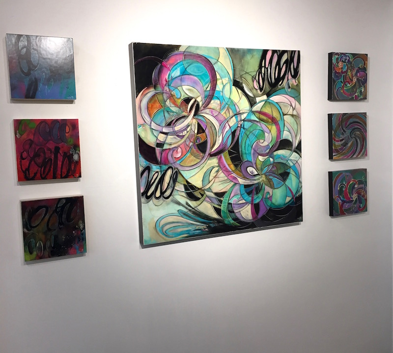 Collaborative painting by Chris Vance and Melynda Van Zee  10 x 10 paintings on the left by Chris Vance 10 x 10 paintings on the right by Melynda Van Zee