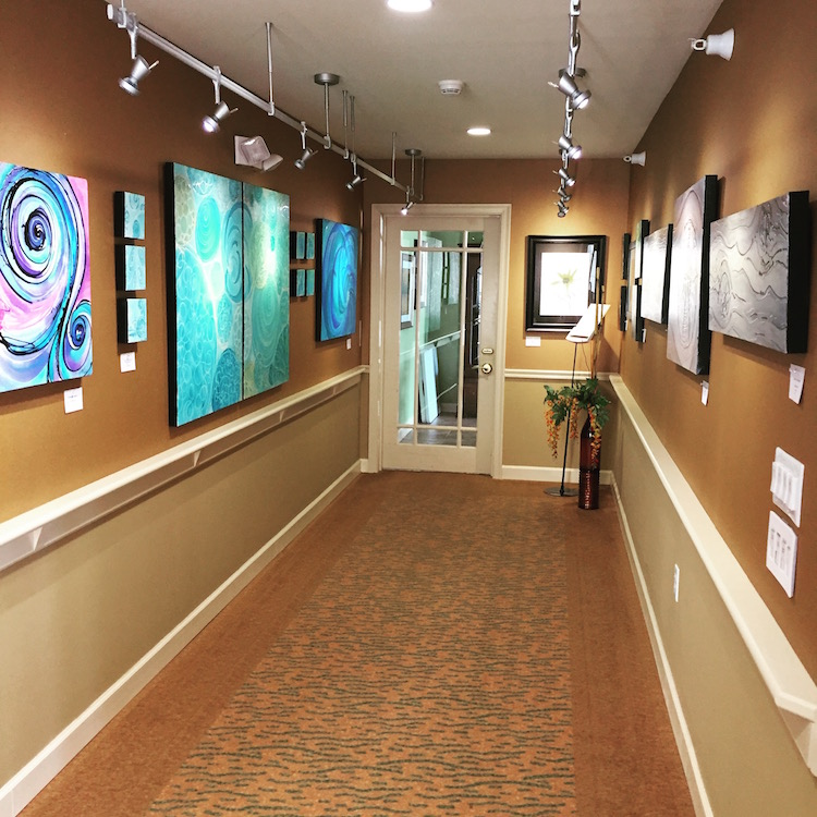 Melynda Van Zee Art exhibit at Edgewater Retirement Community in West Des Moines, IA.